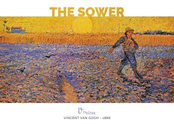 Maleriet forestiller en sædemand på en violet-gul mark under en gul himmel