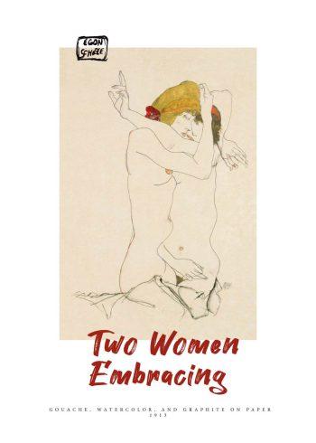 Maleriet forestiller to letpåklædte lesbiske kvinder der holder om hinanden, i en vinkel og komposition som nærmest får dem til at fremstå vægtløse