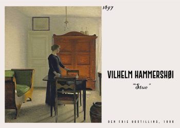 Plakat af Vilhelm Hammershøi en kvinde som står med siden til i din daglige stue fra 1897