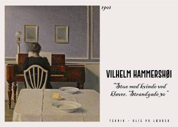"""Vilhelm Hammershøi plakat """"Stue med kvinde ved klaver"""" - fra 1901. Her ser man en kvinde ved strandgade 30, som sidder at spiller klaver, man kan se hende med ryggen til"""