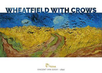 Maleriet forestiller en bølgende gul mark under en dybblå himmel med sorte krager svævende imellem