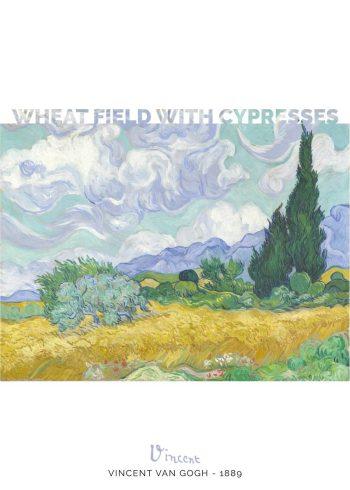 Værket er en smuk gengivelse af en kornmark med en række cypresser i baggrunden under en overvældende og næsten levende himmel