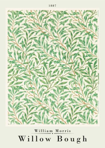 Fineste grønlige kunstplakat af William Morris med værket Willow bough