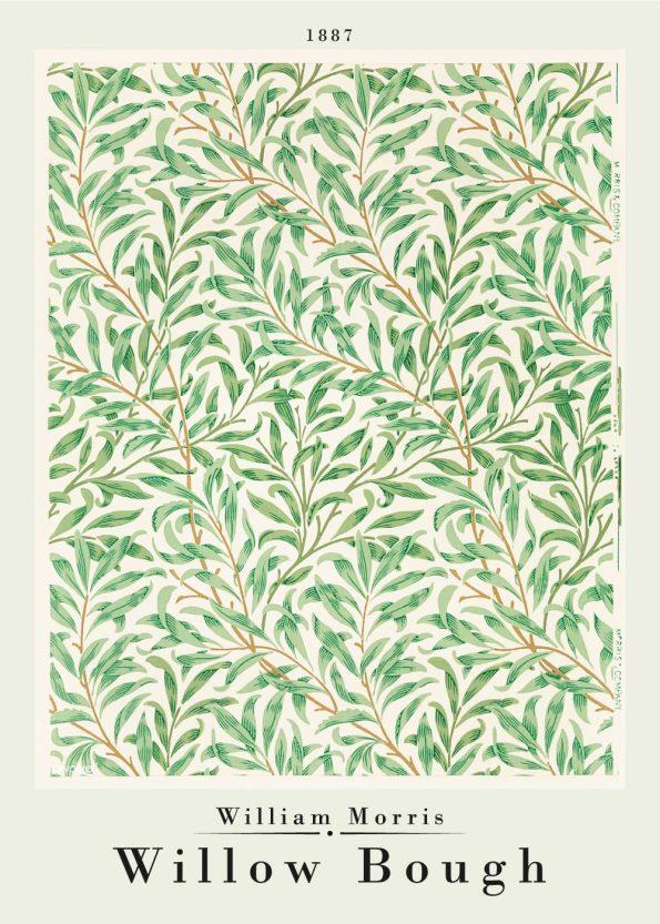 Fineste grønlige kunstplakat af William Morris med værket Willow bough