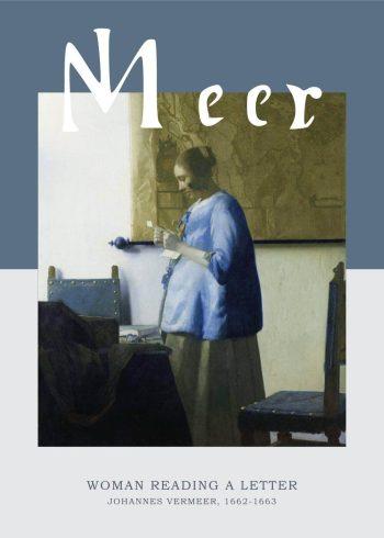 """Museumsplakat med barokmaleriet """"Woman reading a letter"""" af Johannes Vermeer"""
