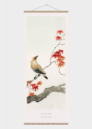 fugl og roede blade japansk kunst plakat