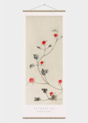 røde blomster japansk kunst plakat