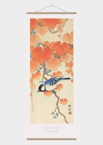 blåmejse i orange blade - japansk kunst plakat