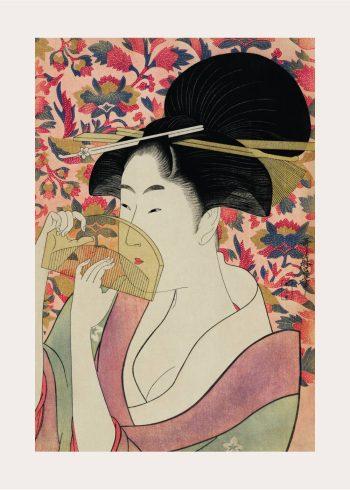 japansk kvinde i lyserøde farver