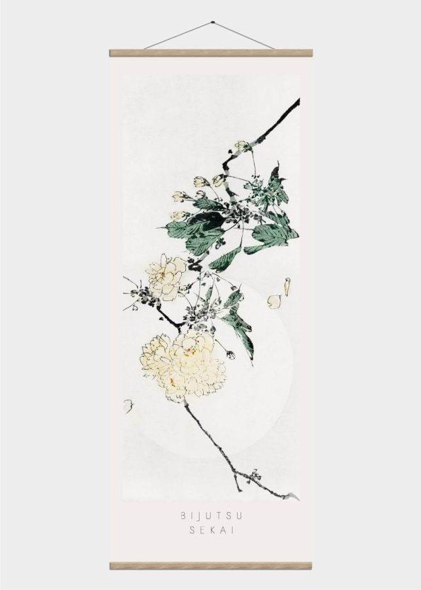 hvide blomster -japansk kunst plakat