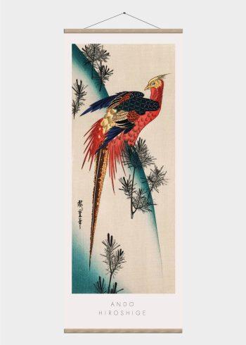 japansk fugl i røde farver - japansk kunst plakat