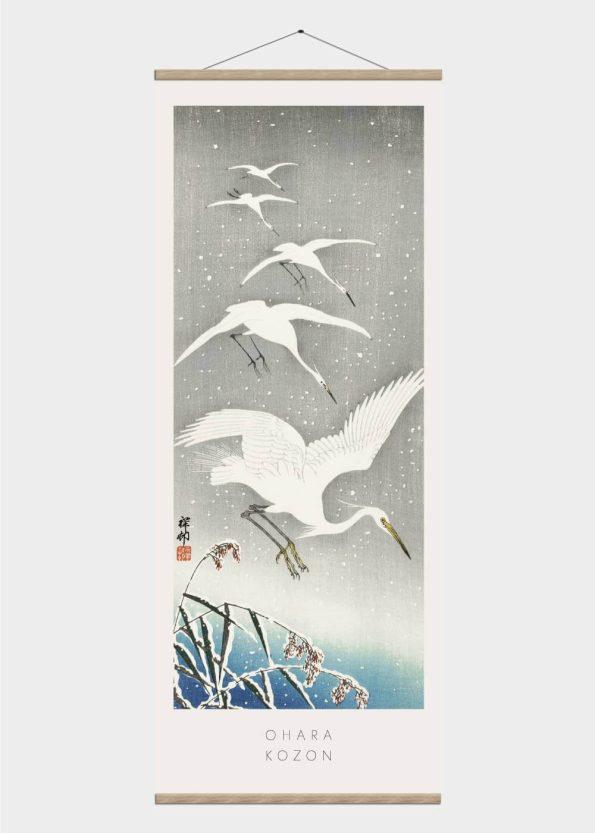 flyvende fem storke - japansk kunst plakat