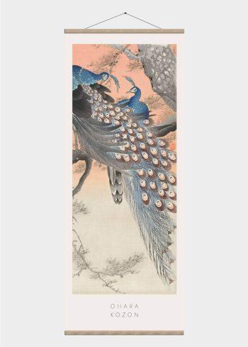 blå påfugl - japansk kunst plakat