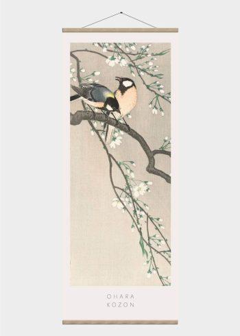 fugle i foråret - japansk kunst plakat
