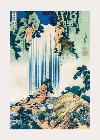 På denne plakat ses et skønt japansk landskabsmaleri med træer, vandfald og andet grønt