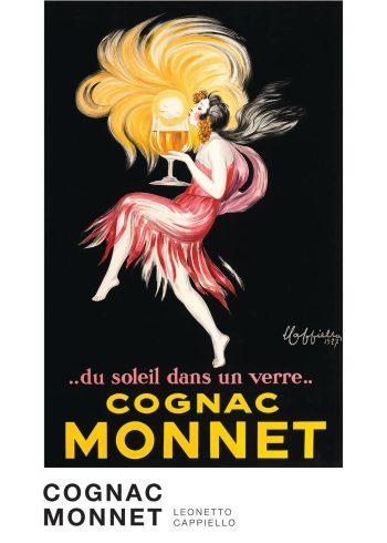 Cognac monnet i farverne rød og gul