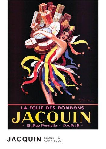 Jacquin af Leonetto Cappiello kunstplkat, en dame som ligner en joker, imens hun har armene fulde af pakker