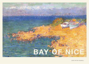 Flot galleriplakat af John Peter Russell, Bay of Nice - kystnært billede af standen i blålige og gule nuancer
