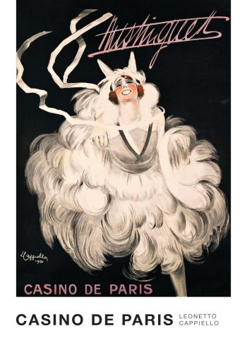 Plakat for kasino i sort og hvid