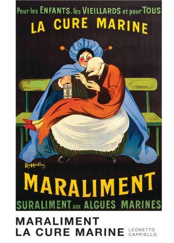 Leonetto Cappiello maraliment la cure marine - farverig plakat. Mand siddende ovenpå kvinde på en bænk.