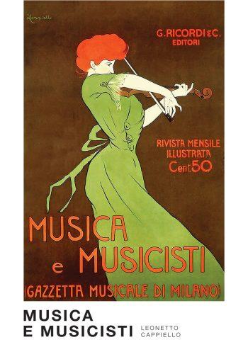 Kunstnerisk plakat med værket musica e musicisti, kvinde iført grøn kjole som står og spiller på violin