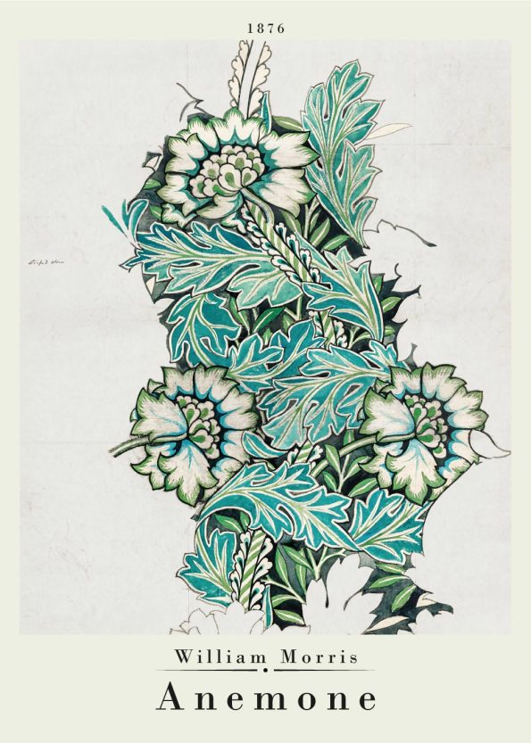 anemone pattern poster from william morris