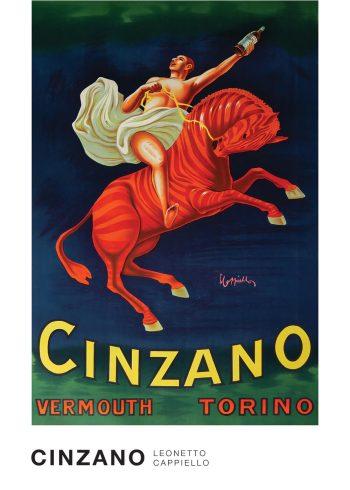 cinzano plakat af en mand på en rød zebra