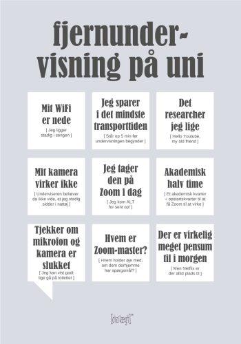 En grå dialægt plakat med ni talebobler