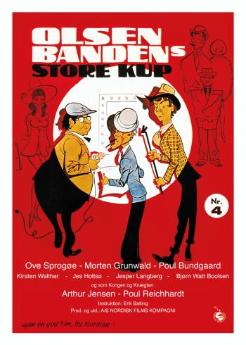 Plakat af Olsen bandens store kup, med Egon Olsen, Benny og Kjeld i de fineste rødelige farver