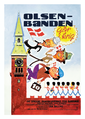 Olsen banden går i krig plakat, med Egon Olsen, Benny og Kjeld
