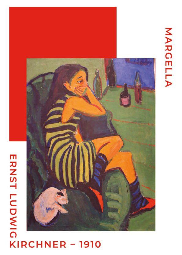 Ernst L. Kirchner af margella siddende i en sofa. fineste farver