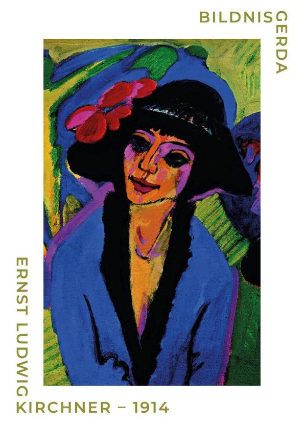Bildnis gerda plakat af Ernst L. Kirchner. Portræt billede af kvinde i de fineste blålige og grønlige nuancer.