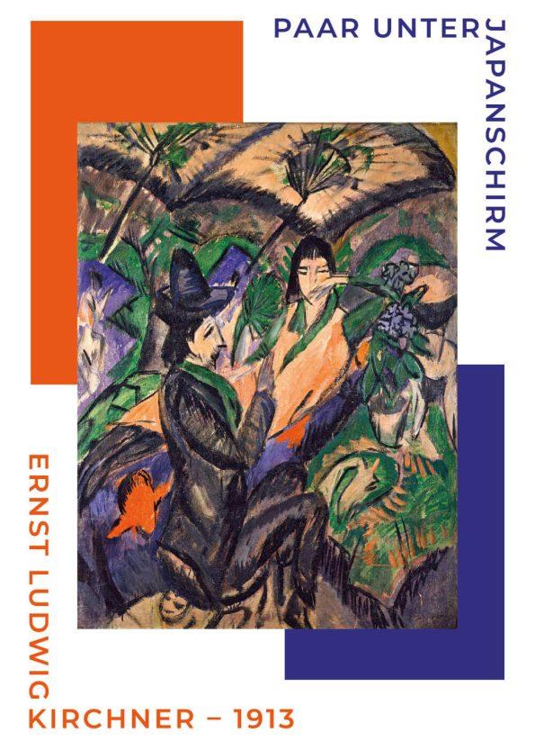 """Plakat med titlen """"Paar unter japanschirm"""" som betyder par under den japanske paraply. Værket er af Ernst L. Kirchner"""