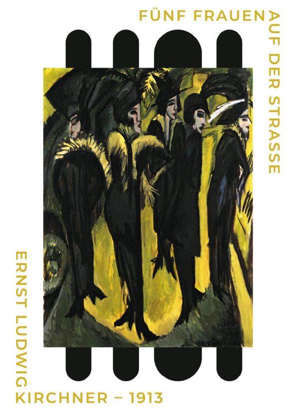 Fünf fraue auf der strasse af Ernst L. Kirchner i de fineste gule og sorte farver