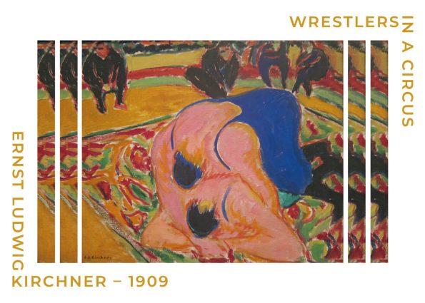 Wrestlers in a circus fin plakat af Ernst L. Kirchner fra 1909