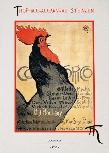 sort hane der galer med rød kam, gul baggrund og skrift