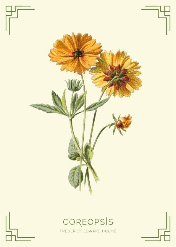 grøn, gul, brun blomst med lysegul baggrund