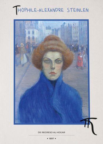 kvinde med rødt hård iført blå frakke