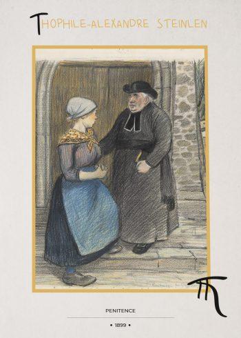 to mennesker snakker, en klædt i sort, en kvinde klædt i blåt forklæde
