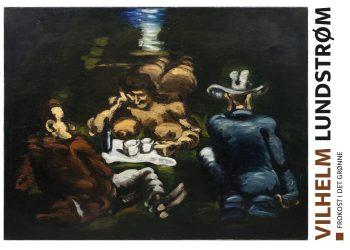 tre mænd ved et bord, mørke farver, hvide kopper, blå jakke, rød jakke
