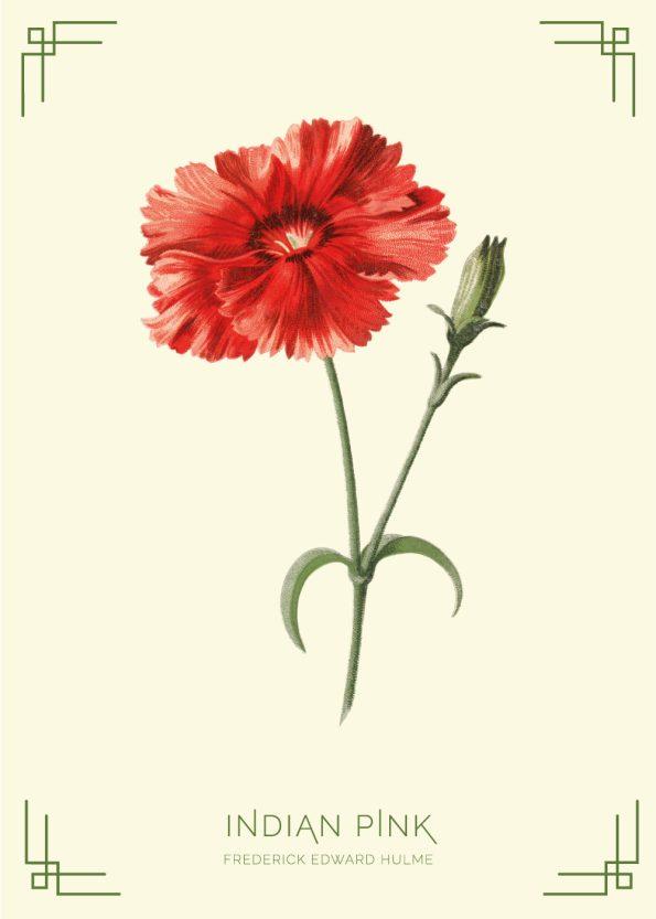 rød blomst, grøn stilk, lysegul baggrund med grønne detaljer