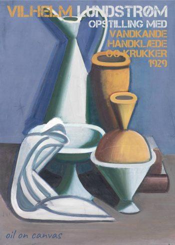 vandkande, orange krukker, hvidt håndklæde og blå baggrund