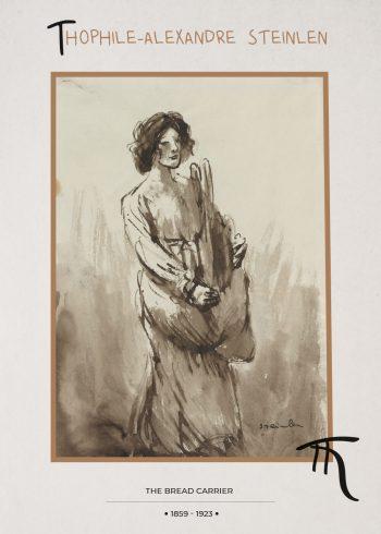 kvinde bærer brød i sort hvid