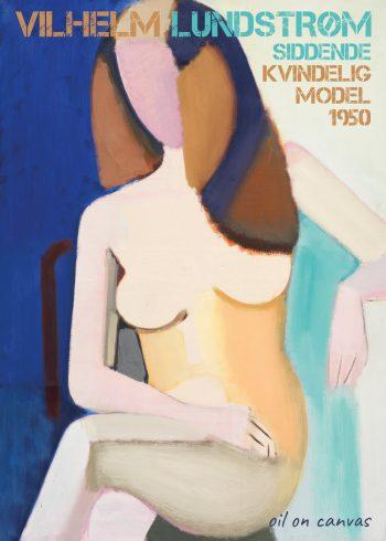 kvinde på stol, lyserødt ansigt, blå, turkis og hvid baggrund