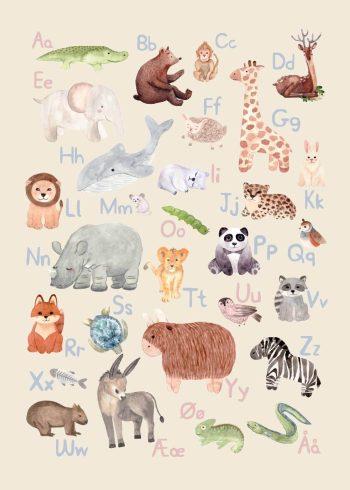 alfabet med dyr i lyserød og blå farver med beige baggrund
