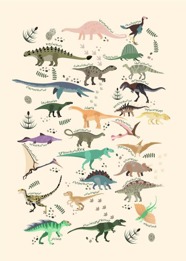 dinosaurer i forskellige farver med navne og rå hvid baggrund
