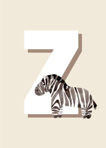 zebra I sort hvid grå foran hvidt z med beige baggrund