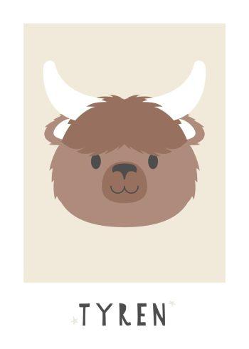 brun tyr med hvide horn og sandfarvet baggrund