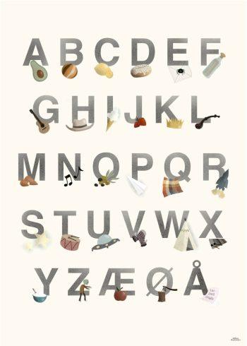 alfabetet i grå farver, forskellige ting og lys baggrund