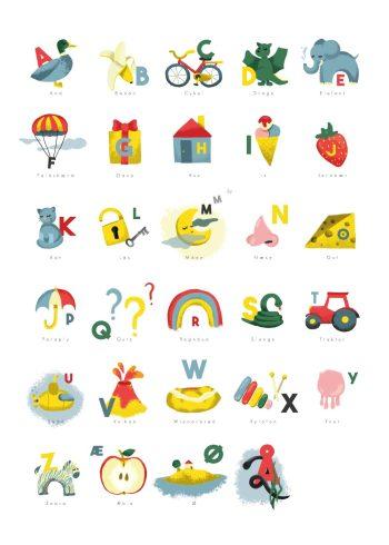alfabetet med mange ting i forskellige farver og hvid baggrund